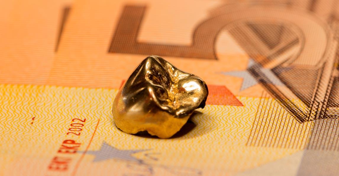 Goldzahn und Geldschein